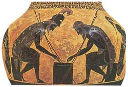 AJAX and ACHILLES PLAYING GREEK BACKGAMMON