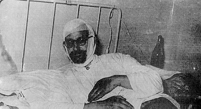 The Priest of the Greek Orthodox monastery of the Life-Spring (Zoodoxou Pigis) Mr. Evangelos Mastorakis, receiving treatment at the Balikli Hospital of Constantinople, after the torture he suffered in the hands of violent Turkish vandals.
