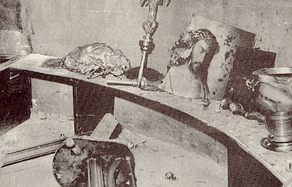 Few salvaged icons, articles, and candle stands remained after the pillaging and burning of the Greek Orthodox Church of Euaggelistrias Propodon in Constantinople by the Turkish mob.