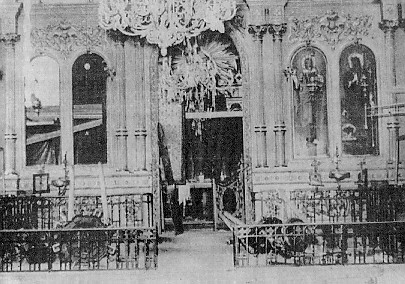 The destruction of the Greek Orthodox Church of Saints Constantine and Helen. The picture indicates the severe damage caused to the inside of the Hellenic temple.