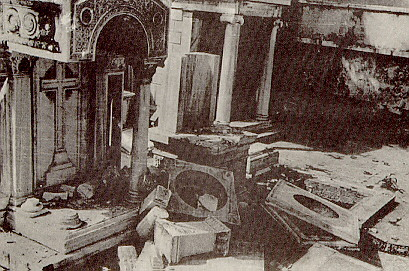 The graves of the great Greek donors and benefactors to the Greek Orthodox Patriarchate, after the concerted inhuman assault of the Turkish tomb violators.