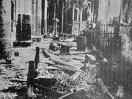 The right wing of the church of the Greek Orthodox Patriarchate in Constantinople (southern side of the church of St. George). The ground is full of thrown stones and broken glasses from the Turkish barbaric raid.