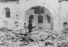 Greek Patriarch Athenagoras weeping in the rubble of the destroyed Greek Orthodox church of Saints Constantine and Helen Ypsomatheion in Constantinople.